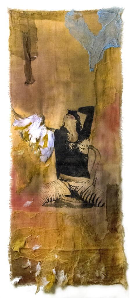 """""""Libre"""". 2018. Técnica mixta sobre textil. 150 x 60 cm. """"No hay barrera, cerradura ni cerrojo que puedas imponer a la libertad de mi mente."""" Virginia Woolf."""