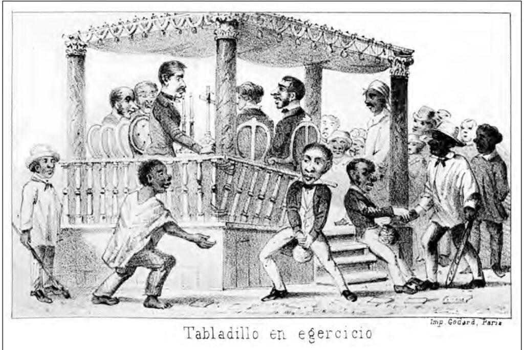 Caricatura de Manuel Atanasio Fuentes Delgado en 'Aletazos del Murciélago', tomo 1. 1866