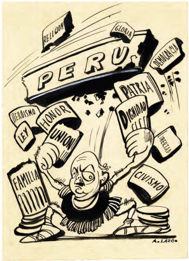 Caricatura de Armando Lazo con sátira del presidente Óscar Benavides en 1936