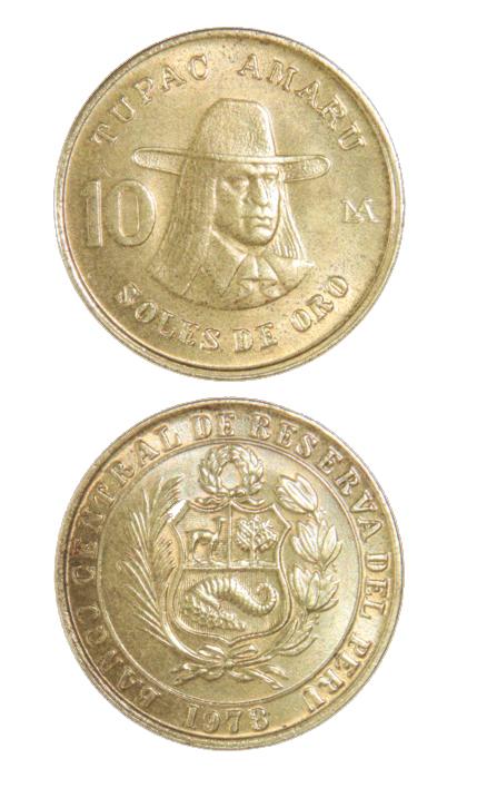 Moneda de 10 soles de oro con el rostro de Túpac Amaru. Material: bronce. Dimensiones: 25 mm.