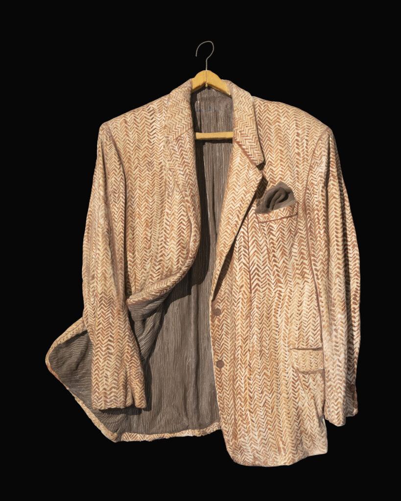 88 x 65 cm. Saco de terno cubierto con mezcla de yeso, cola, agua y pintado. C. 1980.