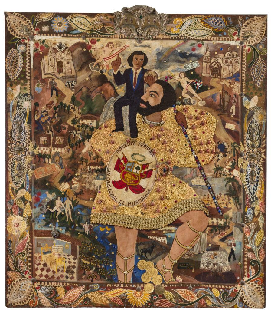 170 x 150 cm. Técnica mixta. Tierra de color, esmalte, bordado, aplicaciones. C. 1974.